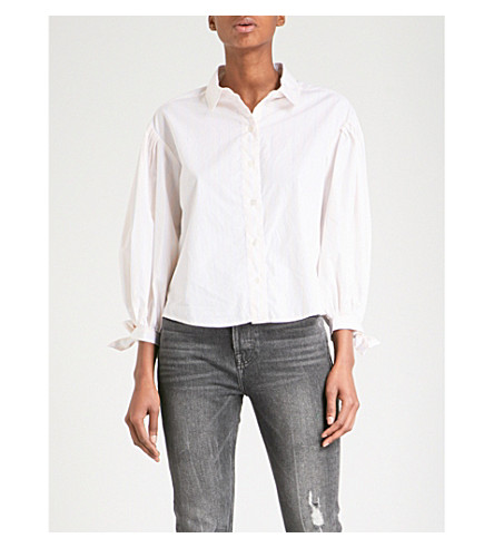 FRAME Tie Cuff cotton-poplin shirt (Light+pink+multi