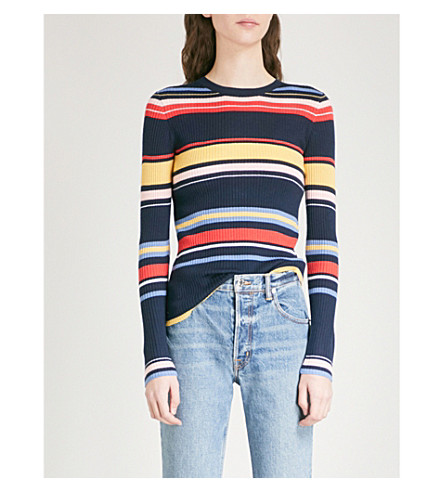FRAME Striped wool-blend jumper (Navy+multi