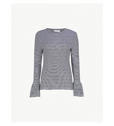 FRAME Striped linen top (Noir+multi