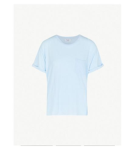 FRAME Slouchy cotton-jersey T-shirt (Faded+light+blue