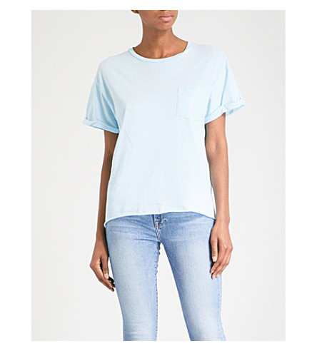 FRAME Slouchy cotton-jersey T-shirt (Faded+light+blue