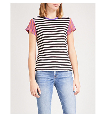 FRAME Contrasting striped linen T-shirt (Purple+multi