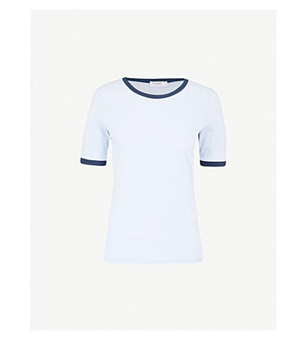 FRAME Ringer True cotton-jersey T-shirt (Clear+blue+mulit