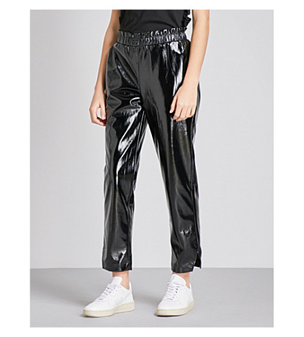 FRAME Holiday faux-patent leather jogging bottoms (Noir