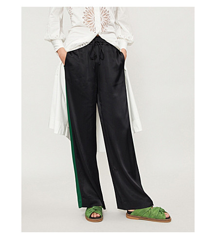 FRAME Track wide-leg satin jogging bottoms (Noir+multi