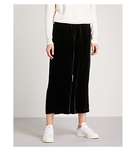 FRAME Wide-leg cropped velvet jogging bottoms (Noir