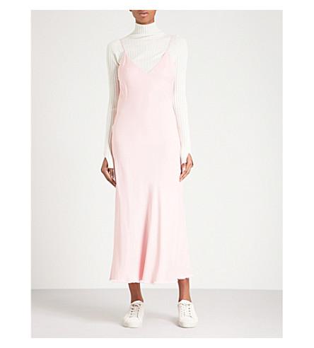 FRAME V-neck satin slip dress (Spanish+pink