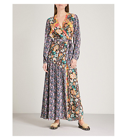 FRAME Floral-panel woven wrap dress (Noir+multi