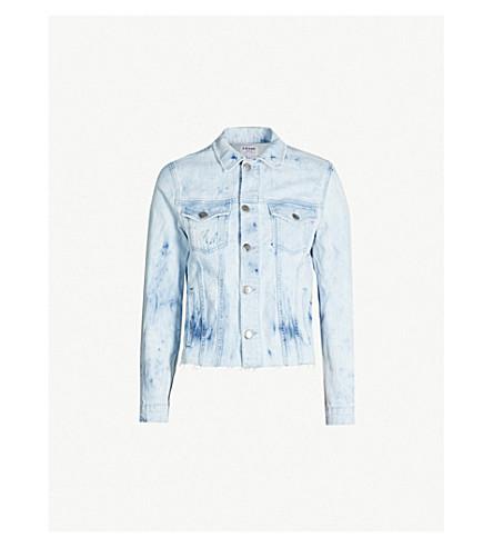 FRAME Raw-hem stretch-denim jacket (Cloud