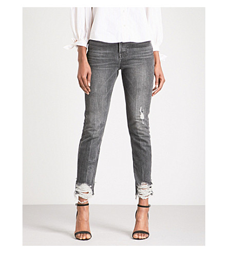 FRAME Rigid Re-Release Le Original Skinny frayed-hem skinny high-rise jeans (Ledyard