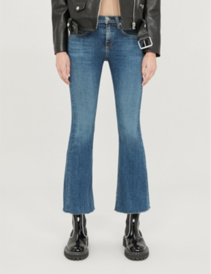 Crop high-rise flared jeans