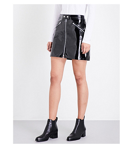 RAG & BONE Racer high-gloss leather skirt (Black+patent+054