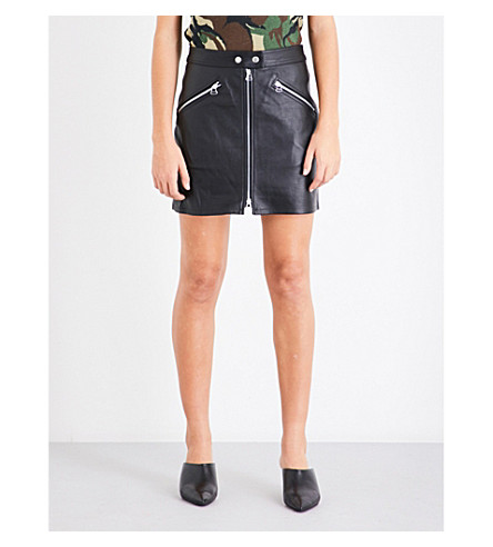 RAG & BONE Mid-rise fitted leather skirt (Black+lthr