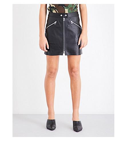 RAG & BONE Mid-rise fitted leather skirt (Black+lthr