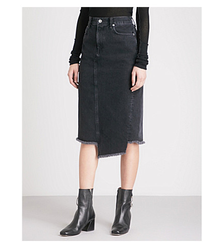 RAG & BONE Sukato stepped-hem denim skirt (Stone+kuro