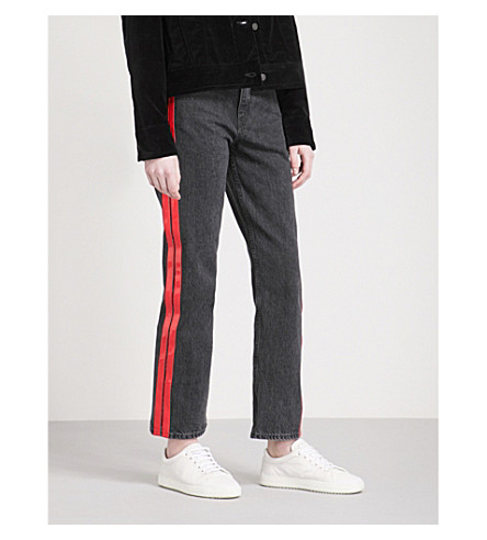 RAG & BONE 条纹裁剪的高层牛仔裤 (Washed+black+001