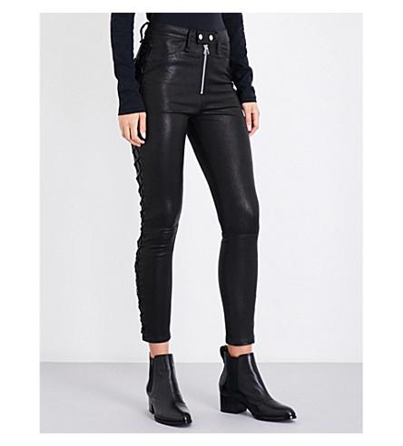 RAG & BONE Kiku lace-up skinny high-rise leather trousers (Black+lthr+042