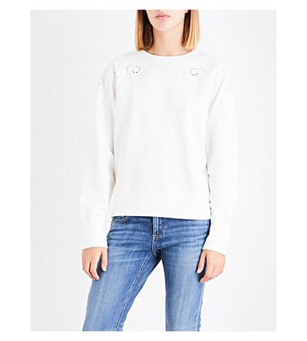 RAG & BONE Floral eyelet-detail cotton-jersey sweatshirt (Blanc