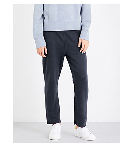 RAG & BONE High-rise tapered cropped cotton-jersey jogging bottoms (Washed+black