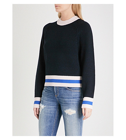 RAG & BONE Hattie colour block wool jumper (Navy+410