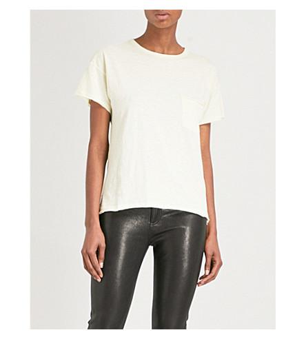 RAG & BONE Vintage raw-hem cotton-jersey T-shirt (Pale+yellow+704