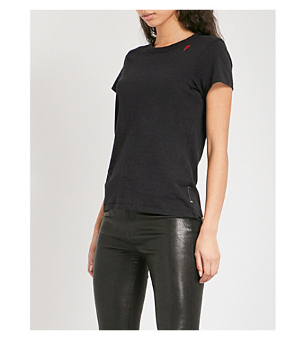 RAG & BONE Thunder bolt-embroidered cotton-jersey T-shirt (Black+001