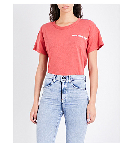 RAG & BONE Have a nice day cotton-jersey T-shirt (Washed+red+600