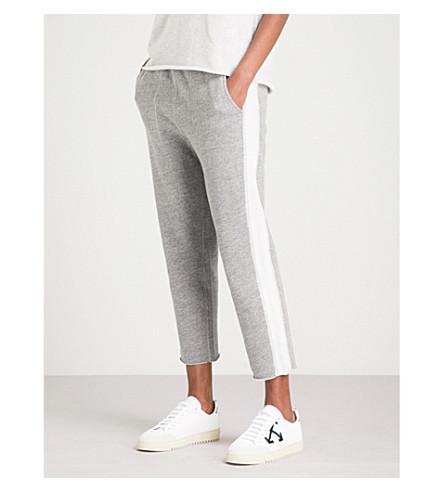 RAG & BONE Raw-hem tapered high-rise cotton-jersey jogging bottoms (Heather+grey+963