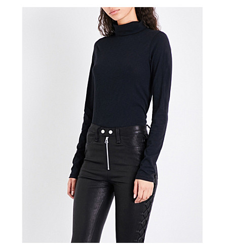 RAG & BONE Turtleneck cotton-jersey top (Black+001