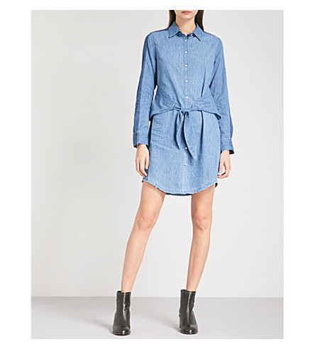 RAG & BONE Said denim and silk-blend mini dress (Indigo+470