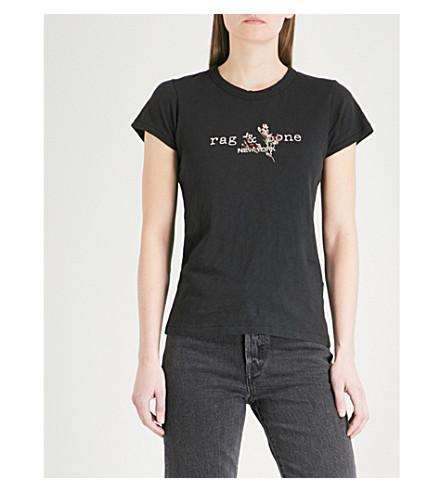 RAG & BONE Bouquet logo-print cotton-jersey T-shirt (Black