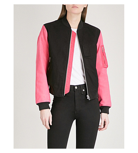 RAG & BONE Dani contrast-sleeve cotton-twill bomber jacket (Black