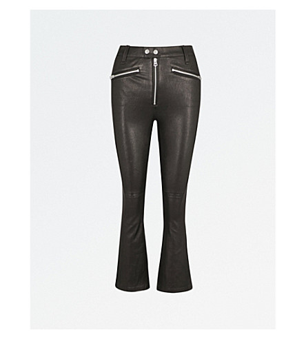 RAG & BONE Braxton slim-fit flared cropped leather pants (Black