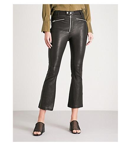 RAG & BONE 托尼布拉克斯顿修身版型喇叭九分款皮革裤子 (黑色