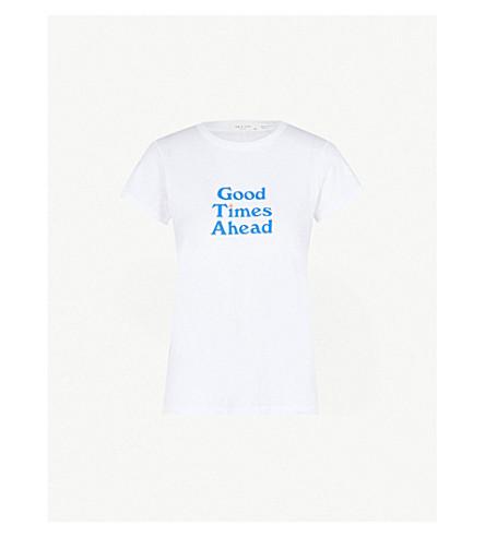 RAG & BONE 口号打印平纹针织棉 T 恤 (白色
