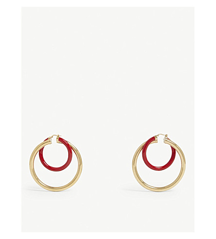 PETER PILOTTO Large double-hoop earrings (Gold+red