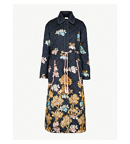PETER PILOTTO Metallic fig tree-embroidered quilted jacquard coat (Navy