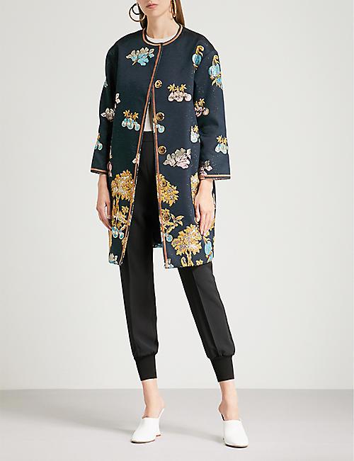 Peter Pilotto Woman Asymmetric Embroidered Silk-crepe Dress Navy Size 16 Peter Pilotto vvQfAXNIJ