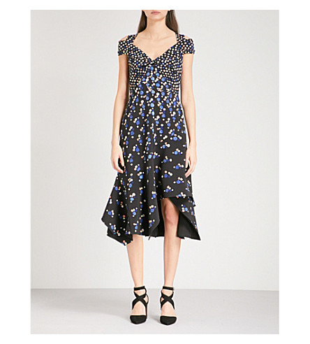 PETER PILOTTO Halterneck abstract-print crepe midi dress (Navy