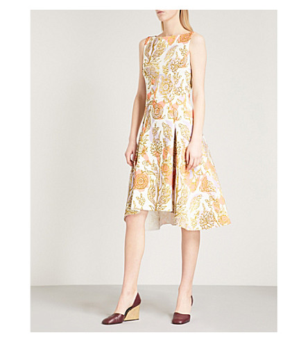 PETER PILOTTO Foiled floral-print sleeveless fit-and-flare woven dress (White