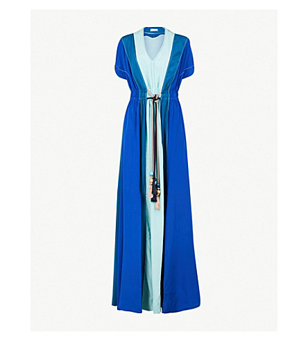 PETER PILOTTO Belted silk-crepe maxi dress (Blue