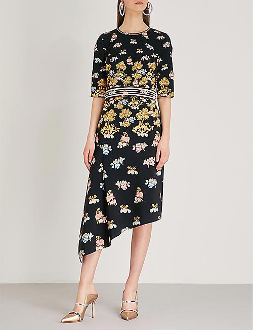 Peter Pilotto Woman Asymmetric Embroidered Silk-crepe Dress Navy Size 8 Peter Pilotto W5rDyZt