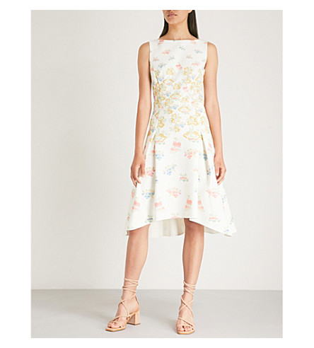 PETER PILOTTO Stamp crepe dress (Fig tree white
