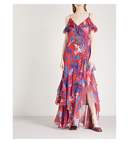 PETER PILOTTO Floral-print sleeveless silk-crepe gown (Red