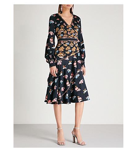 PETER PILOTTO Fig tree-print silk-crepe midi dress (Fig tree navy