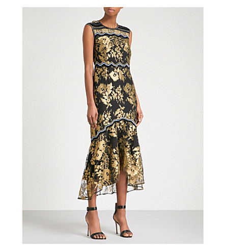 PETER PILOTTO Metallic floral-embroidered sleeveless mesh dress (Black/gold