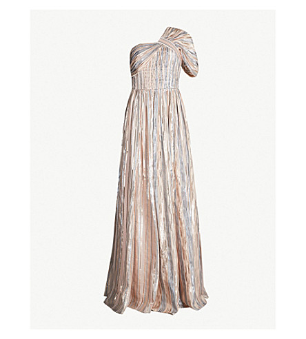 PETER PILOTTO Striped one-shoulder lamé gown (Silver