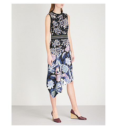 PETER PILOTTO Floral asymmetric crepe dress (Navy