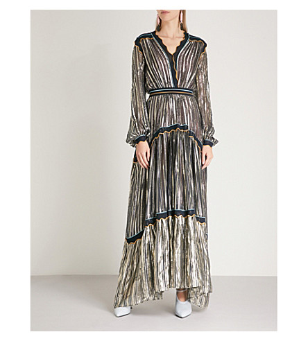 PETER PILOTTO Striped metallic chiffon gown (Gold