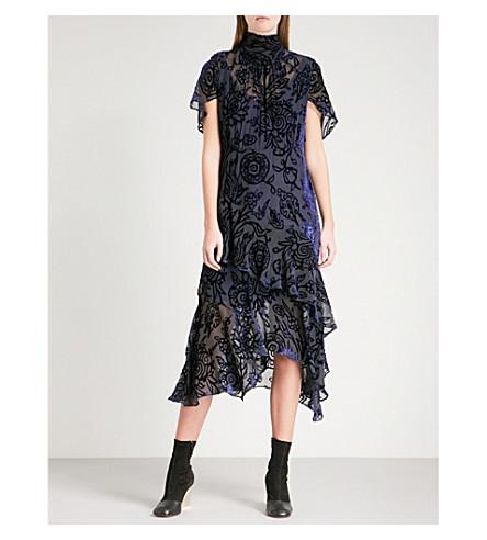 PETER PILOTTO High-neck floral devoré-pattern velvet dress (Navy